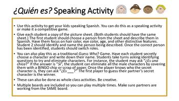 Spanish Describing People Speaking Game/Activity