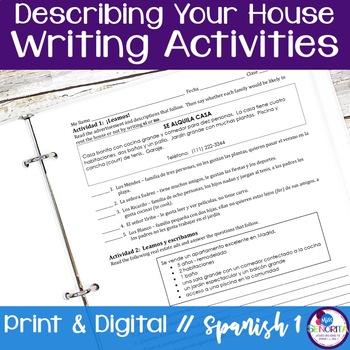 Spanish Describing your House Writing Activities
