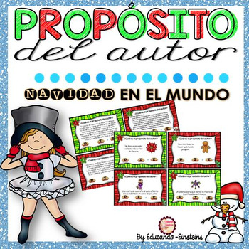Spanish Differentiated Author's Purpose Task Cards. NAVIDA