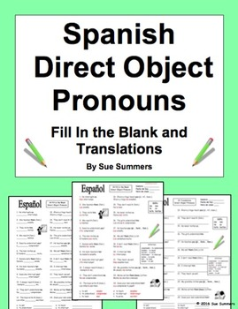 Spanish Direct Object Pronouns 2 Activities: Fill In the B