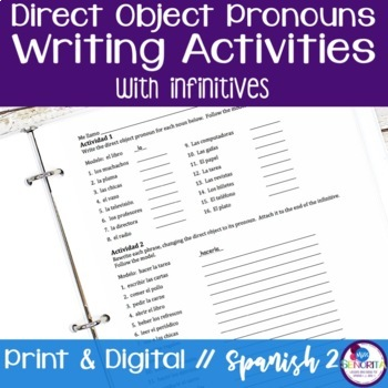 Spanish Direct Object Pronouns Writing Activities with Inf