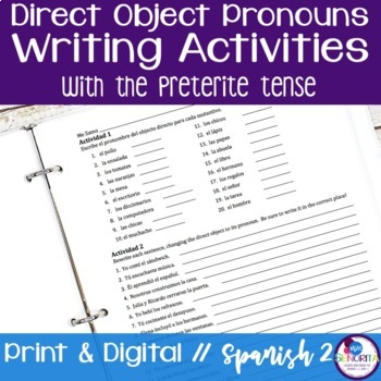 Spanish Direct Object Pronouns Writing Activities with the