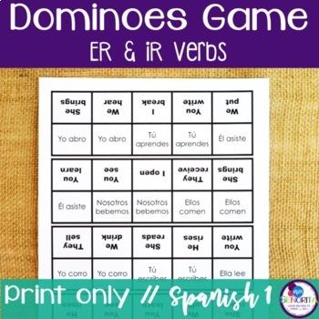 Spanish Dominoes Game {-ER & -IR Verbs}