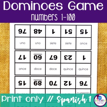 Spanish Dominoes Game {Numbers 1-100}