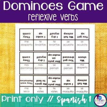 Spanish Dominoes Game {Reflexive Verbs}