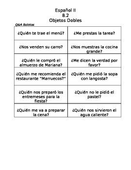 Spanish Double Object Pronoun speaking practice