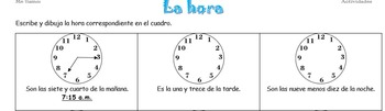 Spanish Draw the Correct Time/La hora Activity with TPR Option