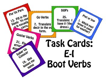 Spanish E-I Boot Verb Task Cards