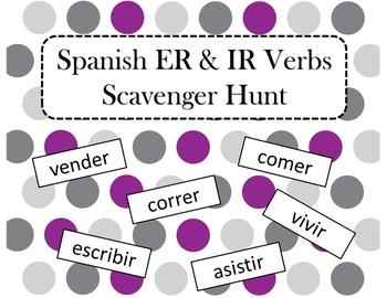Spanish ER & IR Verbs Scavenger Hunt
