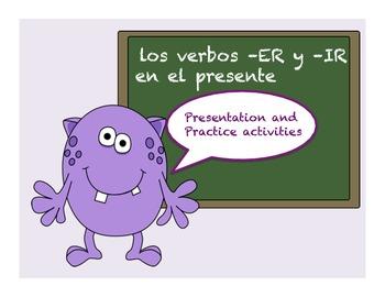 Spanish ER and IR verbs present tense presentation and activities