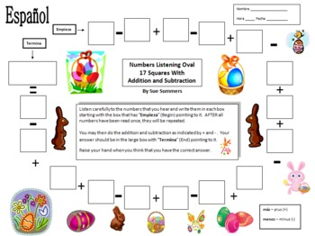 Spanish Easter Numbers and Math Listening Activity