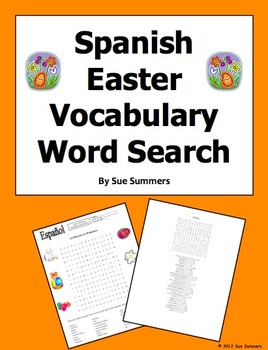 Spanish Easter Vocabulary Word Search Puzzle and Vocabulary List