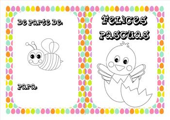 Spanish Easter coloring cards