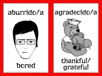 Spanish Emotions Vocabulary Word Wall