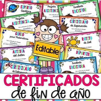 EDITABLE Award Certificates in Spanish