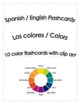 Spanish English Flashcards - Colors Gratis!