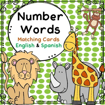 Spanish & English Number Matching Cards / Zoo Theme / Mont