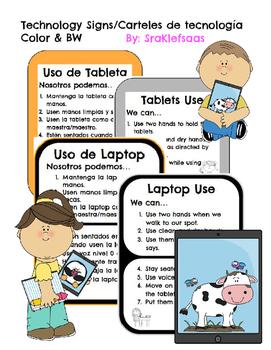 Spanish & English Technology Use Signs