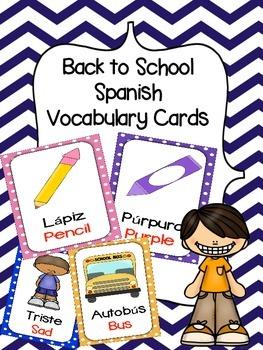 Spanish/ English Vocabulary Cards (Back to School Bundle)