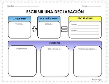 Spanish Escribir una Declaración/Writing a Claim Graphic O
