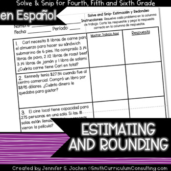 Spanish Estimating and Rounding Solve and Snip