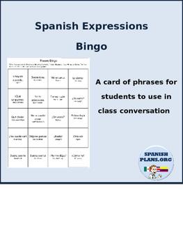 Spanish Expressions Bingo Card