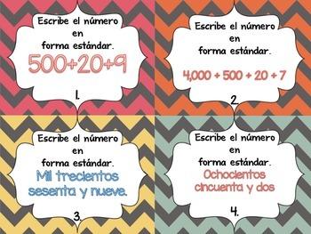 Spanish Extended Form, Standard Form & Word Form Task Cards