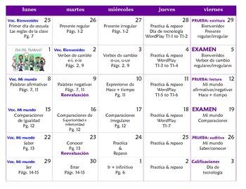Spanish Level II Planning Calendar - Calendario