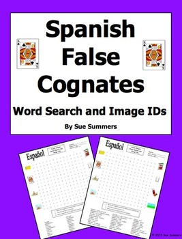 Spanish False Cognates Word Search Puzzle and Image IDs Worksheet