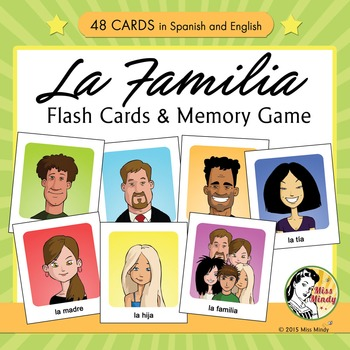 Spanish Family Flash Cards & Memory Game - La Familia