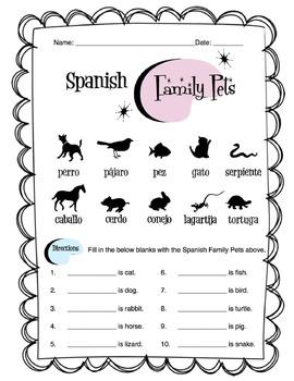 Spanish Family Pets Worksheet Packet
