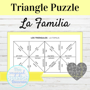 Spanish Family Vocab: Triangle puzzle for basic family wor