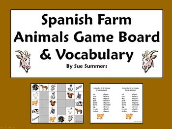 Spanish Farm Animals Board Game and Vocabulary