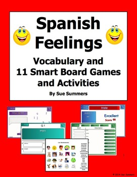 Spanish Feelings SmartBoard 11 Games and Activities, and V