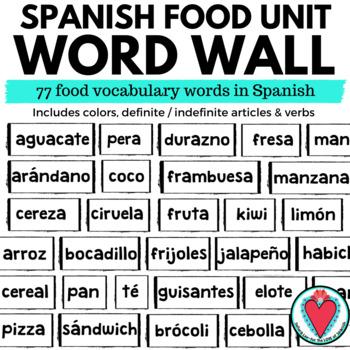Spanish Food WORD WALL