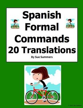 Spanish Formal Commands - 20 Uds. Sentence Translations wi