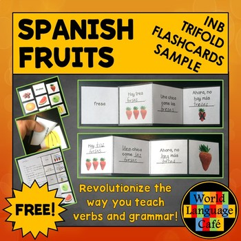Spanish Fruits Interactive Notebook Trifold Flashcards Sample