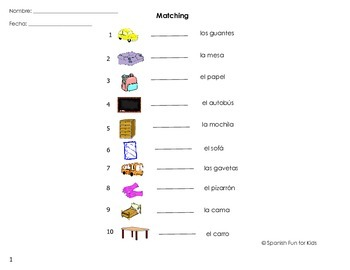 Spanish Fun Activity Sheets for Flash Cards Set 1 by Music and ...