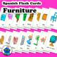 Spanish Furniture Flash Cards. Bath, book, camera, flowers
