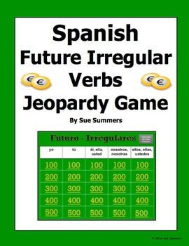 Spanish Future Tense Irregular Verbs Jeopardy Game - Spani