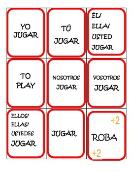 Spanish Game: AR verb conjugation /UNO game