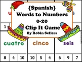 Spanish Game: Spanish Words to Numbers 0-20 Clip It Game