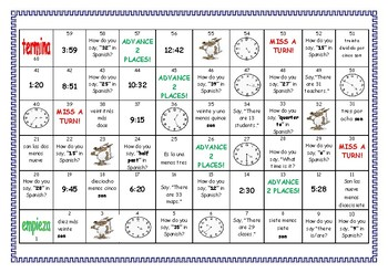 Spanish Game: Time and Numbers (los números  y la hora)