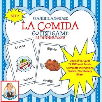 Spanish Go Fish Game Dinner Foods--La Comida