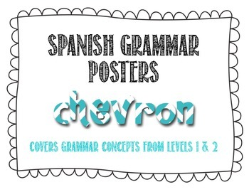 Spanish Grammar Posters - Chevron Theme