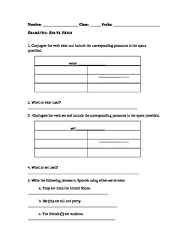 Spanish Grammar Worksheet: Ser vs. Estar