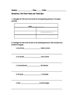 Spanish Grammar Worksheet: The Verb Tener and Tener Que