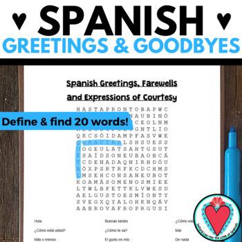 Spanish Greetings WORD SEARCH