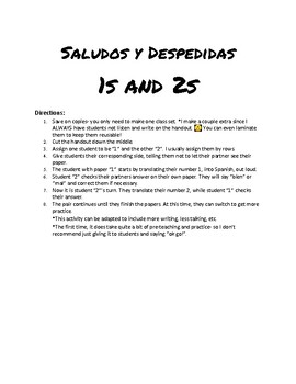 Spanish Greetings and Goodbyes Review Activity
