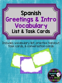 Spanish Greetings and Intro Conversation Unit & Task Cards